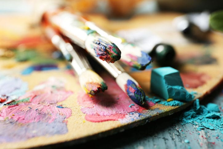 48990657 - beautiful still life with professional art materials, close up
